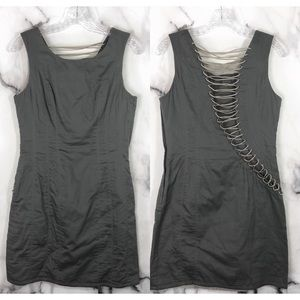 NEW •H&M• Gray Leather Lace Up Back Cotton Dress